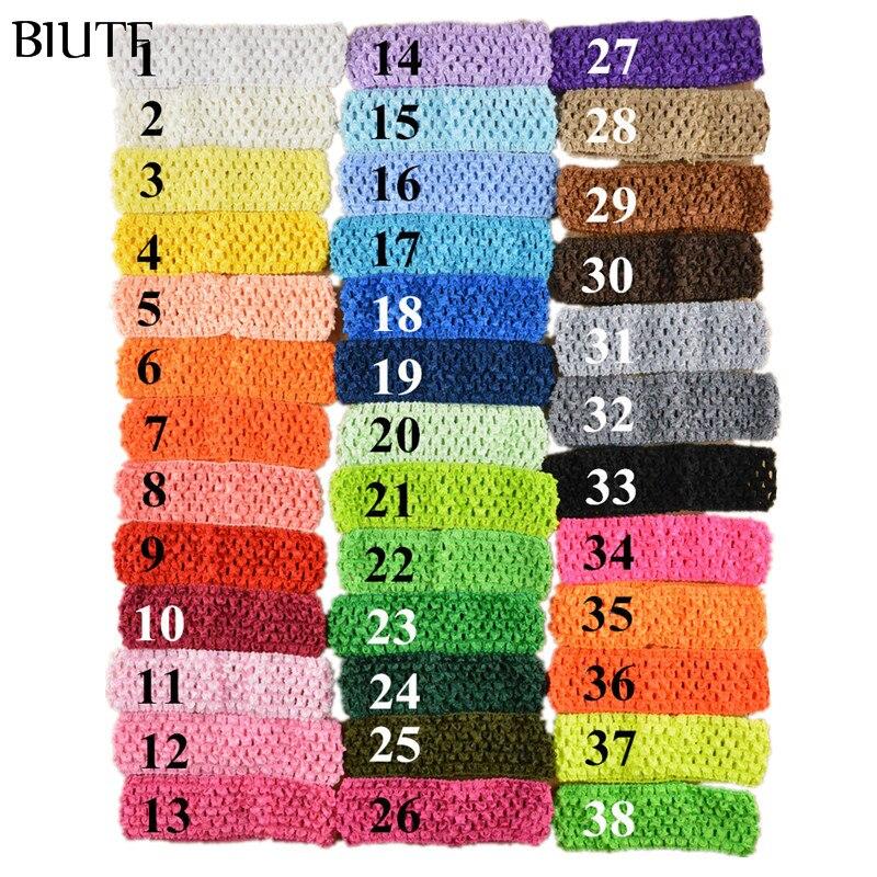 50 pçs/lote 1.5 Polegada elástico crochê menina hairband malha pettiskirt bandana 38 cores em estoque fd099