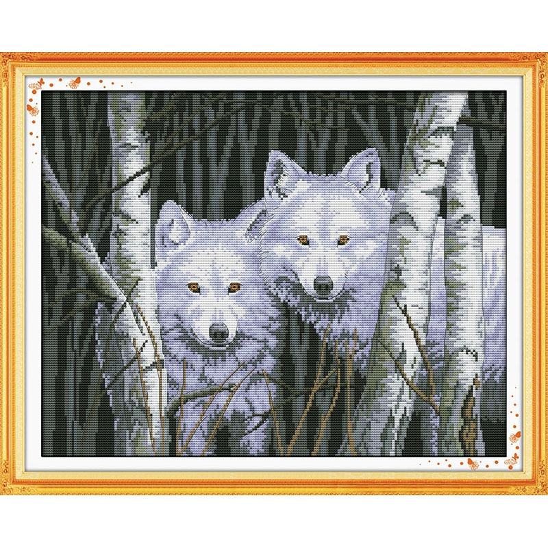 Kits de punto de cruz chino de amor eterno lobos en el bosque algodón ecológico estampado 11CT DIY regalo decoraciones de año nuevo para el hogar