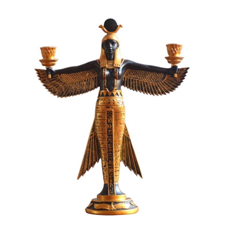 Egito isis deusa castiçal estilo europeu casa ornamentos resina artesanato decoração da sala de jantar castiçal x1799