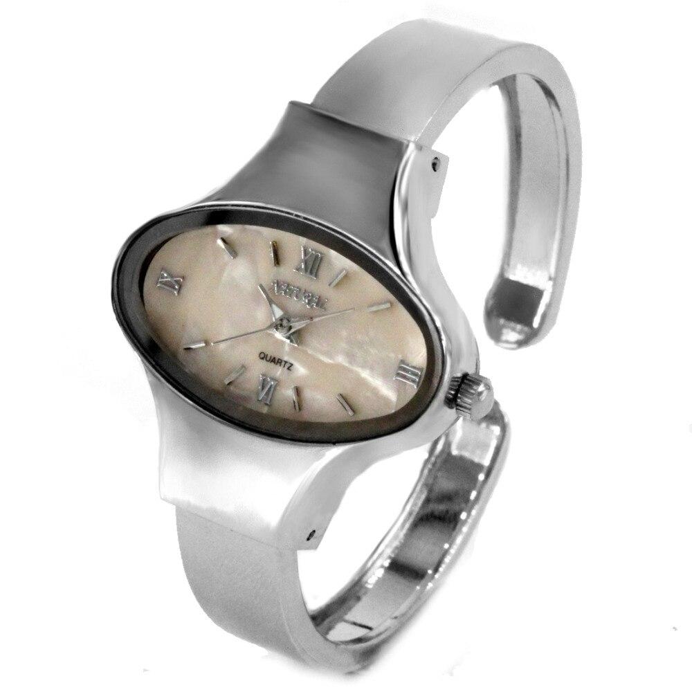 ALEXIS Elliptic PNP Shiny Silver Watchcase Women Beige Dial Bangle Watch FW573A enlarge