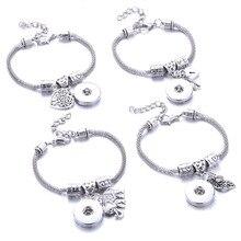 Nouveau boutons pression bijoux 4 Style homard boucle serpent chaîne bracelets perlé Snap Bracelet ajustement 18MM boutons pression bijoux 2771