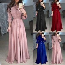 Sexy Lapel Maxi Dress Womens Casual Long Sleeve Solid Elegant Long Party Dress Soft Touch autumn win