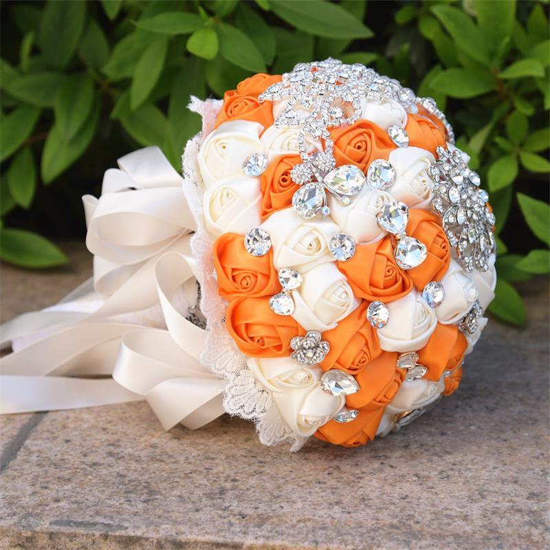 New arrived Ivory Orange Artificial Flowers rhinestone Wedding Bridal Bouquets Durable Silk Throw Wedding Bouquet Custom