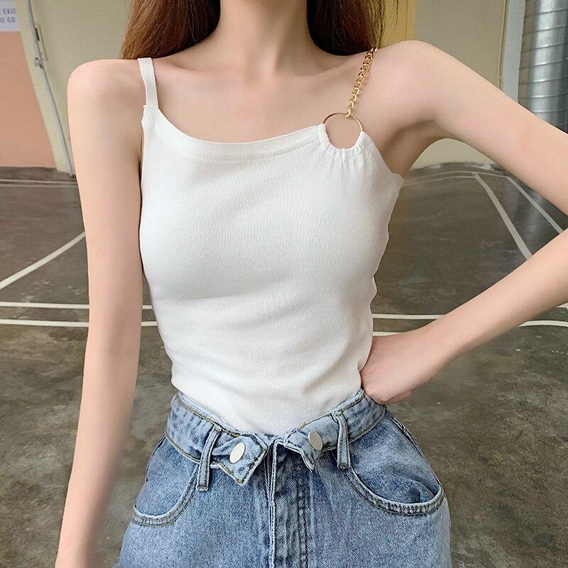 Camisola Irregular con cuello redondo de punto ajustada para mujer, Camiseta de tirantes de punto para mujer, camisetas sin mangas en blanco y negro para chica