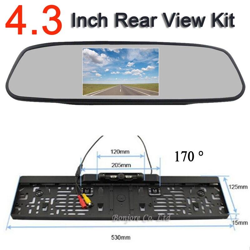 """YeHeng shop HD 4,3 """"Farbe Auto Monitor spiegel & auto ccd rückfahrkamera eu kennzeichen Wasserdichte Kamera 4 LED"""