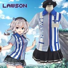 Anime Kantai Collection Kashima LAWSON Arbeits Uniform Cosplay Kostüm Shirt + Rock + Hut