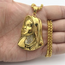 Hip Hop Pave Rhinestone Acero inoxidable Color oro Virgen María colgante collar para mujeres cristiana joyería Madonna