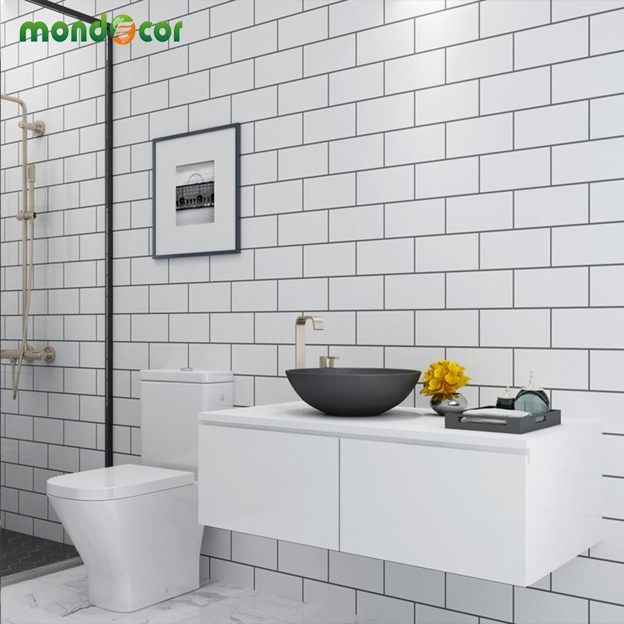 Kunststoff Vinyl Schälen und Stick Wand Papers Home Decor Badezimmer Küche PVC Mosaik Selbst Klebe Tapete Wasserdicht Fliesen Aufkleber