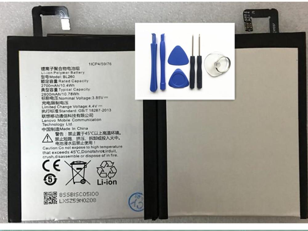 2700mAh BL260 Mobile Phone Replacement Battery For Lenovo Vibe S1 Lite S1La40 BL-260 BL 260 Batterie Accumulator+tool