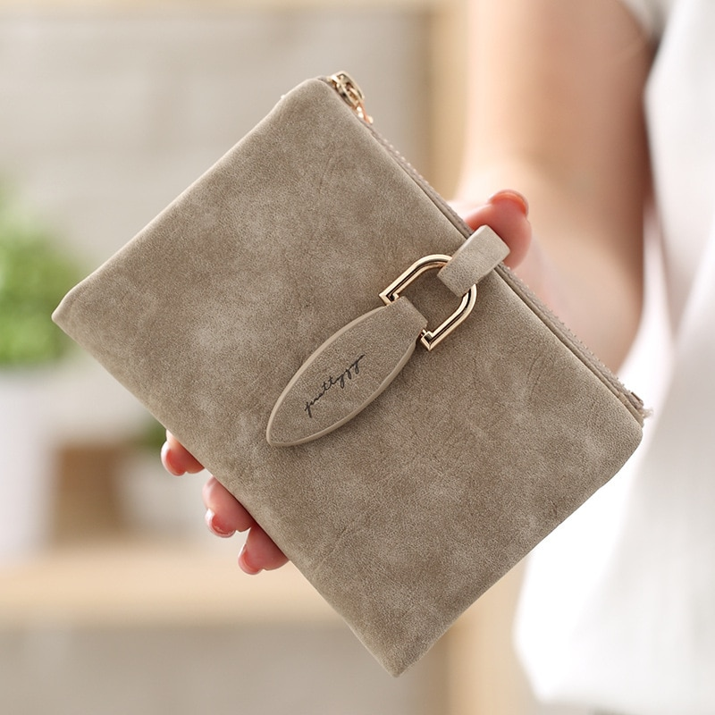 Fashion Women Short Purses Vintage PU Leather Lady Snap Fastener Short Clutch Wallet Small Matte Wom