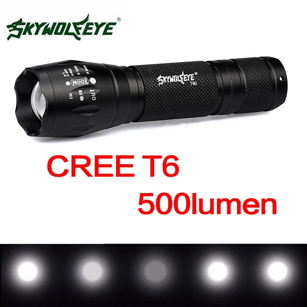 SKYWOLFEYE T90 linterna LED T6 con zoom linterna impermeable 500LM 5 modos destello de luz LED lámpara de la antorcha para acampar al aire libre senderismo