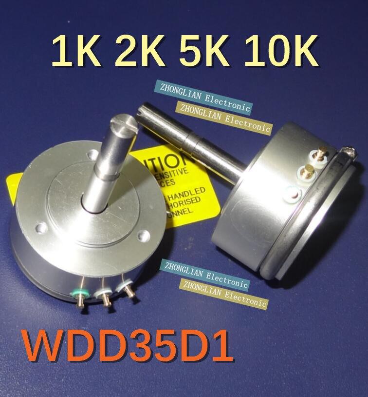 Darmowa wysyłka 2 sztuk/partia WDD35D1-5K WDY35D1 długiej osi przewodzący potencjometr z tworzywa sztucznego czujnik kąta 360 stopni obrót