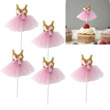 5Pcs Bling Bling Ballerina Skirt Princess Tutus Dress Cake Toppers Cake Accessories Cupcake Picks for Girls Birthday Theme Party