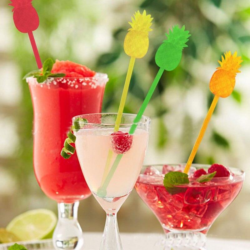 Offre spéciale ananas Cocktail bâtonnets de cuisson   Ananas Cocktail, agitateur café/vin/boisson, purée, accessoires de cuisine de fête, outils de Bar 12 pièces