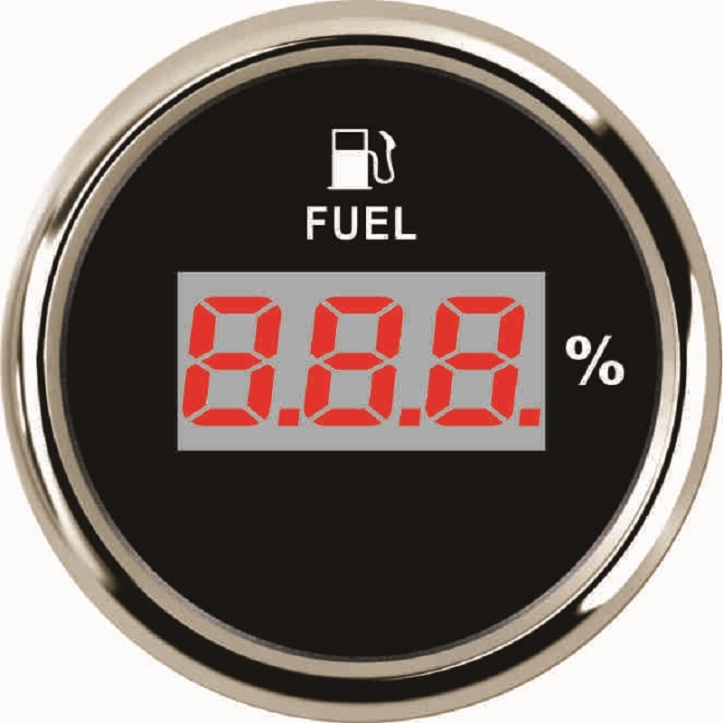 Medidor Digital de nivel de combustible a prueba de agua de 52mm señal 0-190ohm con luz trasera roja 12 V/24 V para barco de coche