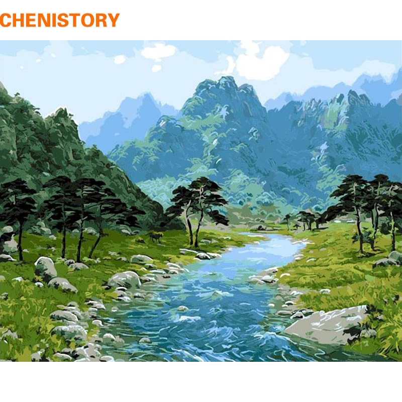 CHENISTORY картина «сделай сам», картина по номерам, Горный пейзаж, современные настенные художественные картины, ручная работа, масляная живопи...
