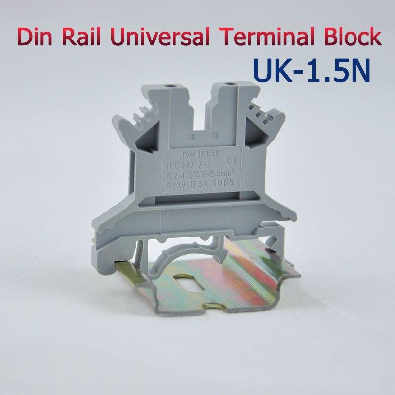 50 pces UK-1.5N blocos terminais universais do trilho do ruído tipo de parafuso uk1.5n phoenix alta qualidade