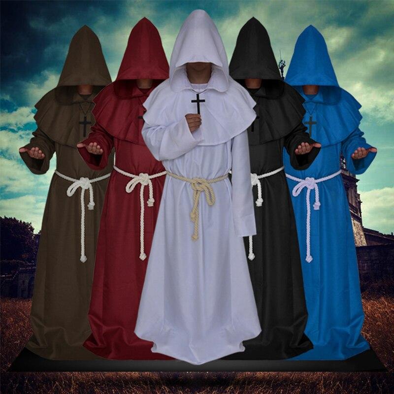 5 colores renacimiento medieval cosplay de sacerdote disfraces para Halloween y Navidad Pascua de 2018 traje túnicas de monje fraile capa cos Cabo