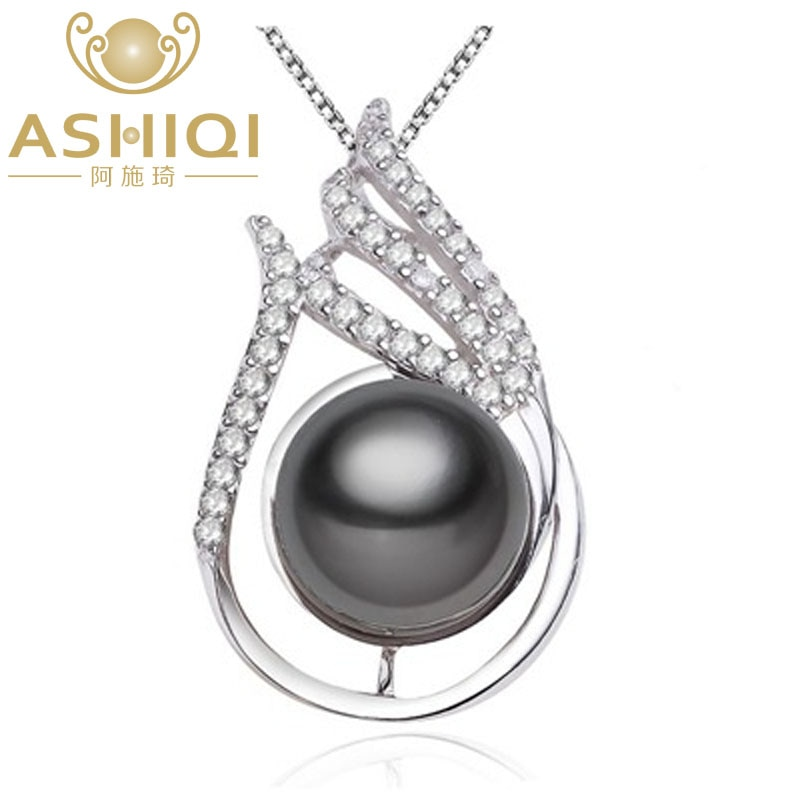 ASHIQI-عقد وقلادة من لؤلؤ التاهيتي الأسود الطبيعي ، 10-11 مللي متر ، مجوهرات من الفضة الإسترليني عيار 925 ، هدية للنساء