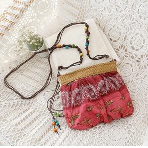 Summer Straw Bags For Women Mini Boho Bag Bohemian Floral Printing Strap Bag Ladies Handbags Small Beach Messenger Bags W303