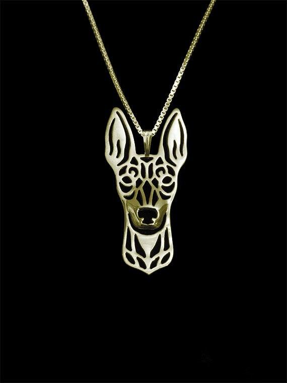 Lindo juguete de moda Manchester Terrier colgante collar de Mujeres de oro de declaración Chapado en plata