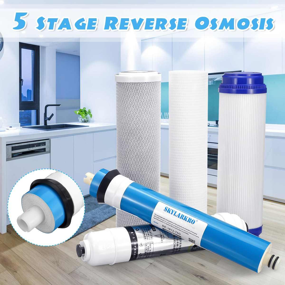 5 Osmosis inversa RO agua de reemplazo Kit de filtro con 75 GPD membrana cartucho de filtro de agua purificador de agua doméstica purificador de agua