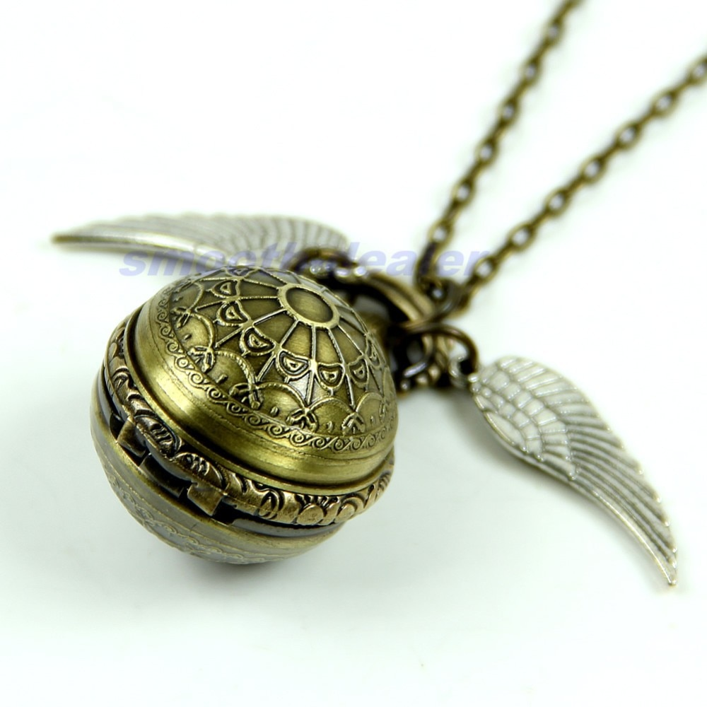 עתיק בציר עכביש אינטרנט כדור אגף שרשרת תליון קוורץ שעון כיס מתנה