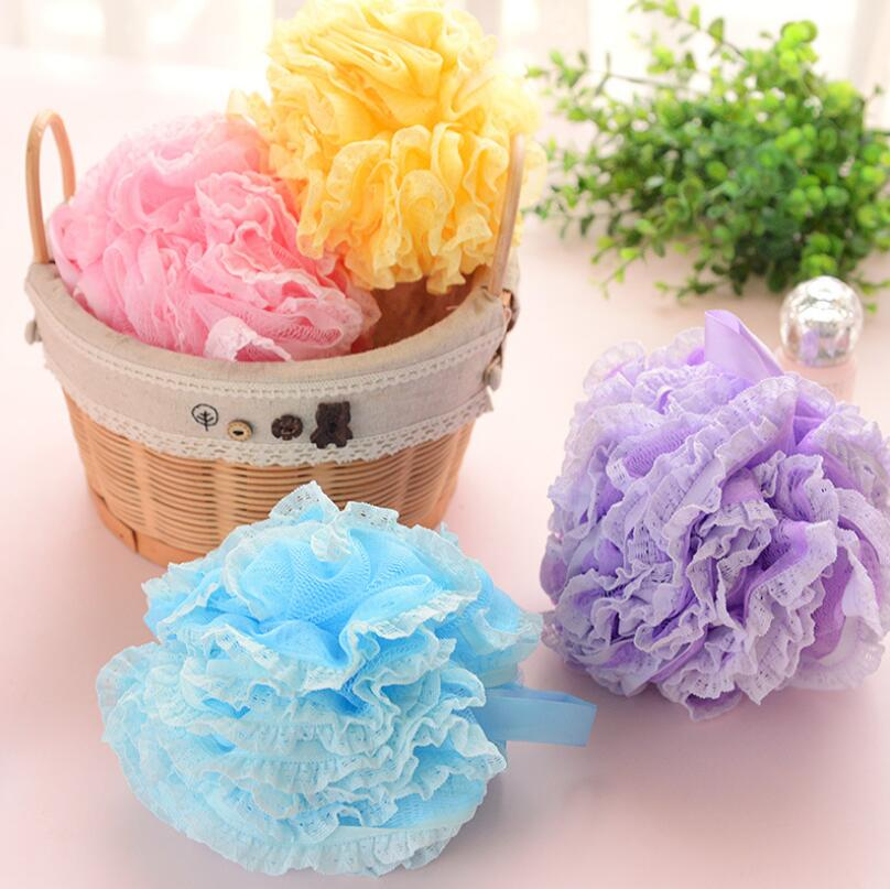 Scrub Skin Bathing Products Thicken Bath Cleansing Lace Bathing Ball Massage Puff Sponge Shower Mesh Net LX2543