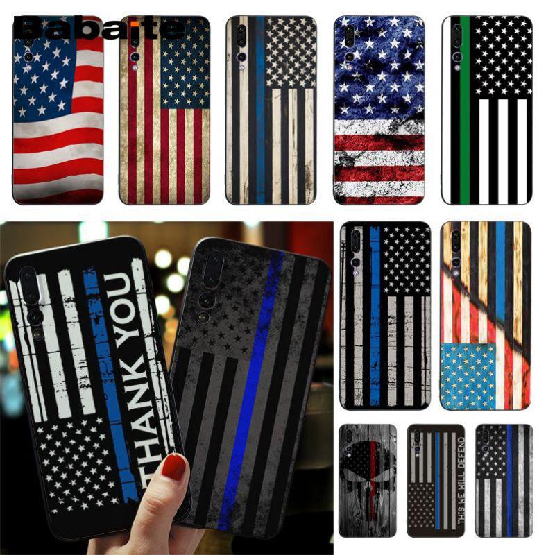 Babaite Thin Blue Line American US Flag TPU Soft Silicone Black Phone Case For Huawei honor V9 V10 9 10 P9 P10 P20 P20pro