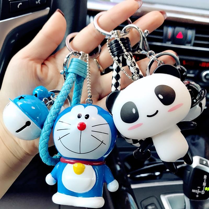 Dessin animé hibou chat porte-clés en cuir corde cloche Totoro Silicone point Doraemon Figure sac à dos accessoires pour enfants noël G