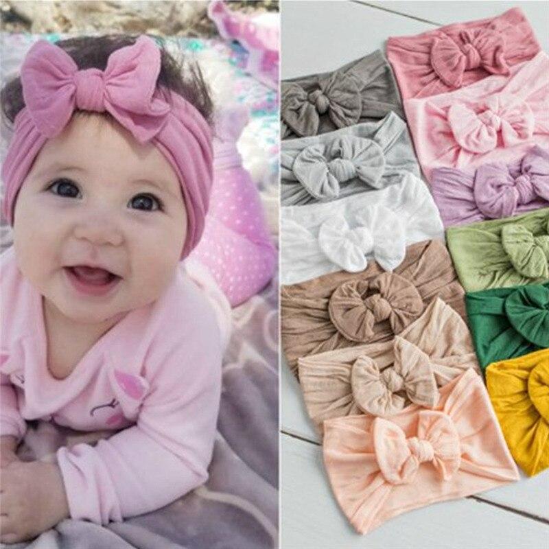New Baby Nylon Headband Soft Rabbit Bowknot Turban Hair Bands for Children Girls Elastic Headwrap Hair Accessories Headbands