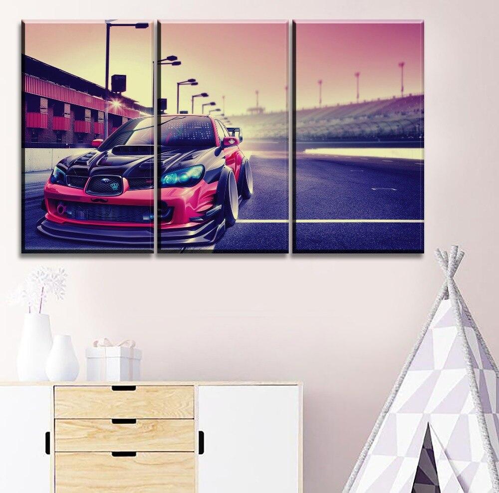 Decoración del hogar en lienzo impresión tipo pintura Marco de arte de pared 3 Panel vehículos Subaru Impreza coche deportivo Poster arte moderno