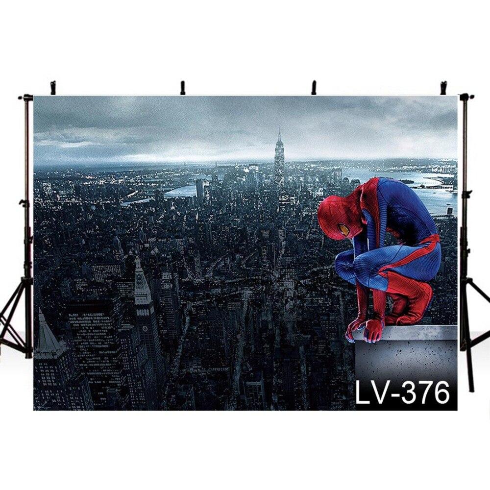 Movie Theme Photography Backdrops Spiderman Cityscape Backdrop For Photography Background For Photo Studio Fundo Fotografico