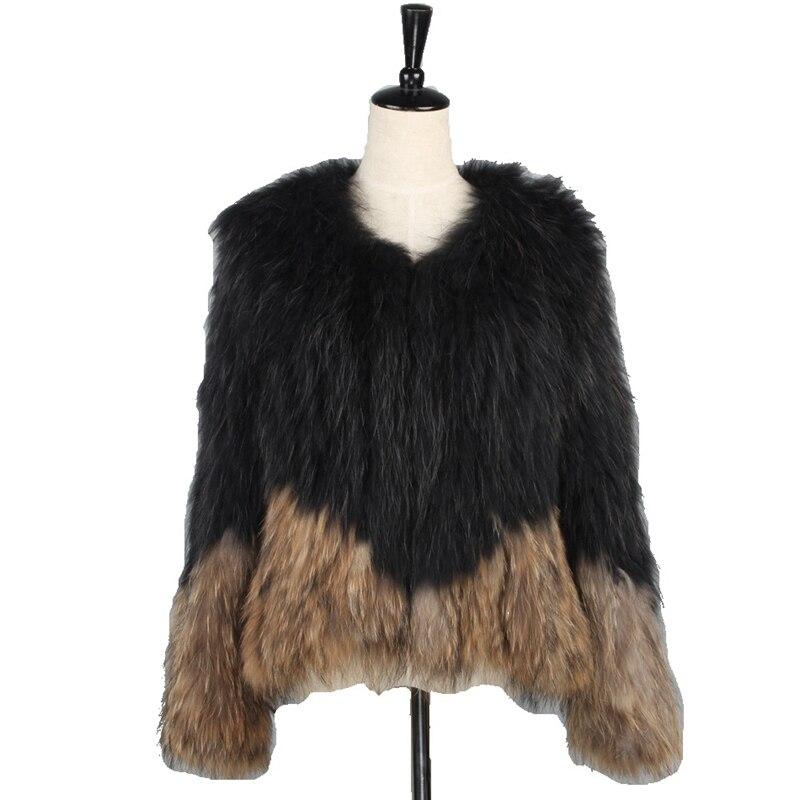 الفاخرة سيدة متعددة ريال محبوك الراكون الفراء معطف سترة الخريف الشتاء المرأة الدافئة ملابس خارجية LF5017