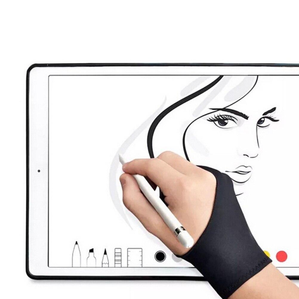 Negro 2 dedo Anti-fouling guante tanto para mano izquierda y derecha de la artista dibujo para cualquier gráficos del dibujo de la tableta