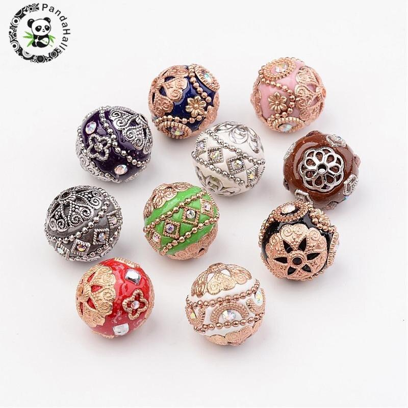 10 pçs feito à mão grânulo espaçador encantos grânulos para jóias pulseira colar que faz diy redondo com achados de liga cor misturada 20mm