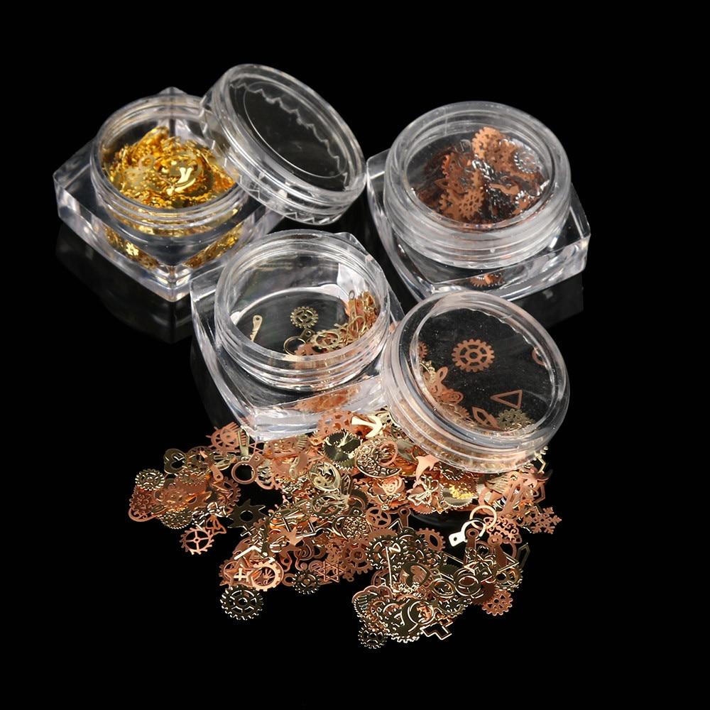 Cristal de diamantes de imitación para decoración de uñas de tamaño pequeño, 1 caja, hoja de Metal para engranajes, pegamento Steampunk mezclado para decoración de uñas