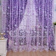 2x1 m girassóis padrão impresso janela voile cortinas decoração para casa cortina sala de estar pura tule vb243 p35