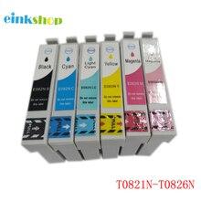 Einkshop T0821 T0821N Cartouche Dencre Pour Epson R270 R390 TX650 T50 T59 TX720 TX700 RX610 RX590 RX615 T0821-T0826