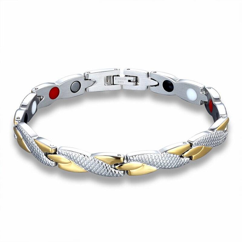 Two Tone Gold Color Titanium Steel Magnet Germanium Hologram Health Slimming Bracelets for Women Fashion Jewelry 7*200MM