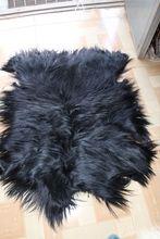 Tapis dagneau tibétain peaux mongoles   Peau dagneau/peau de chèvre noire