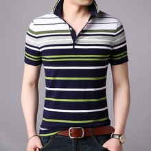 2020 New Fashions Brand Designer Polo Shirt Mens Striped Summer Slim Fit Short Sleeve Top Grade Boys Polos Casual Men Clothing