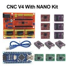 Cnc 쉴드 v4 확장 보드 + 나노 3.0 arduino + 3pcs 스테퍼 모터 드라이버 a4988/drv8825/at2100 키트 3d 프린터 용