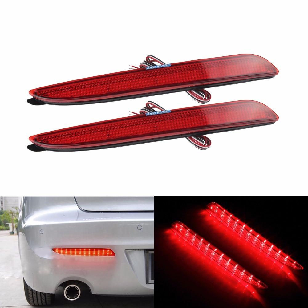 ANGRONG LED Bumper Reflector Red Lens Tail Brake Light For 2004-2009 Mazda3 Mazdaspeed3 / Axela BK5P BKEP BK3P(CA173)