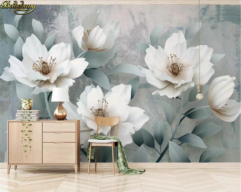Papel tapiz personalizado beibehang 3d, mural retro simple 3d en relieve con flores para TV, papeles tapiz decoración del hogar, papel de pared