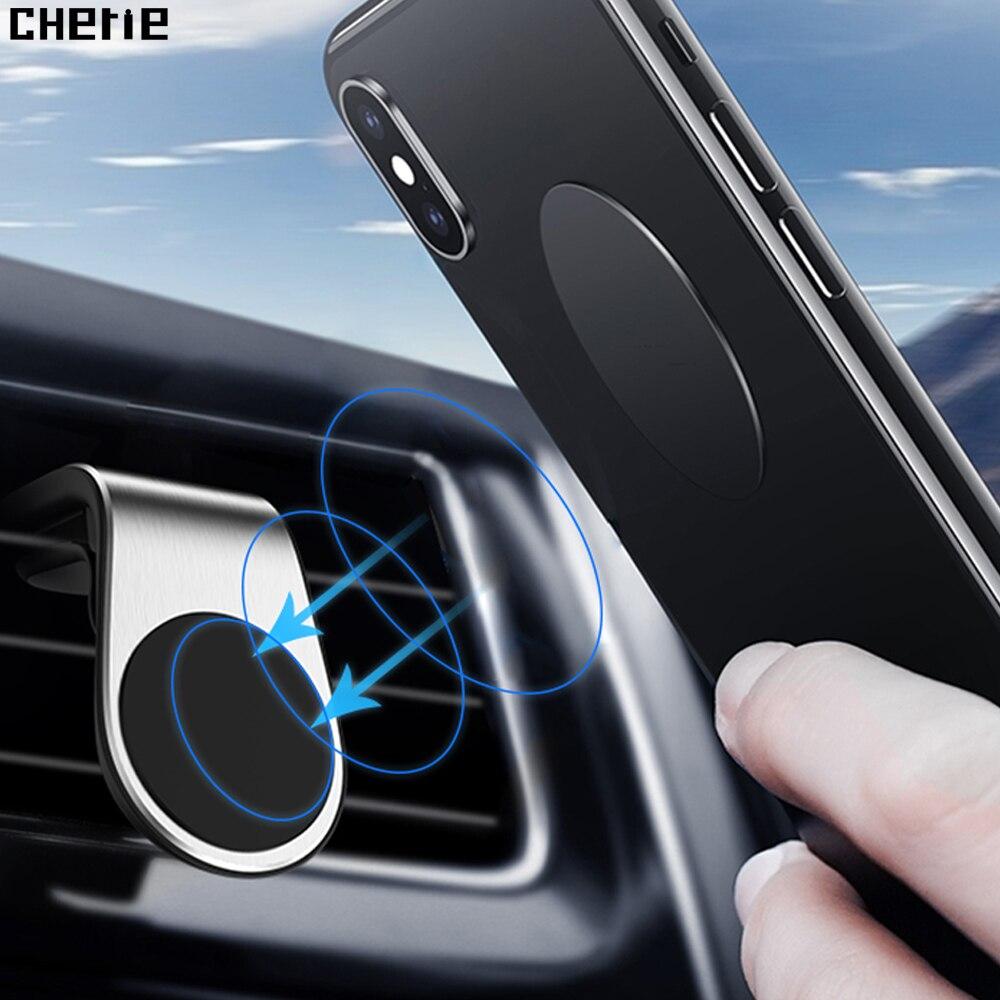 Soporte magnético para teléfono Cherie en coche para iPhone X 7 8 Plus Xioami cc9 Samsung S9 soporte magnético para coche soporte de teléfono de ventilación de aire para coche