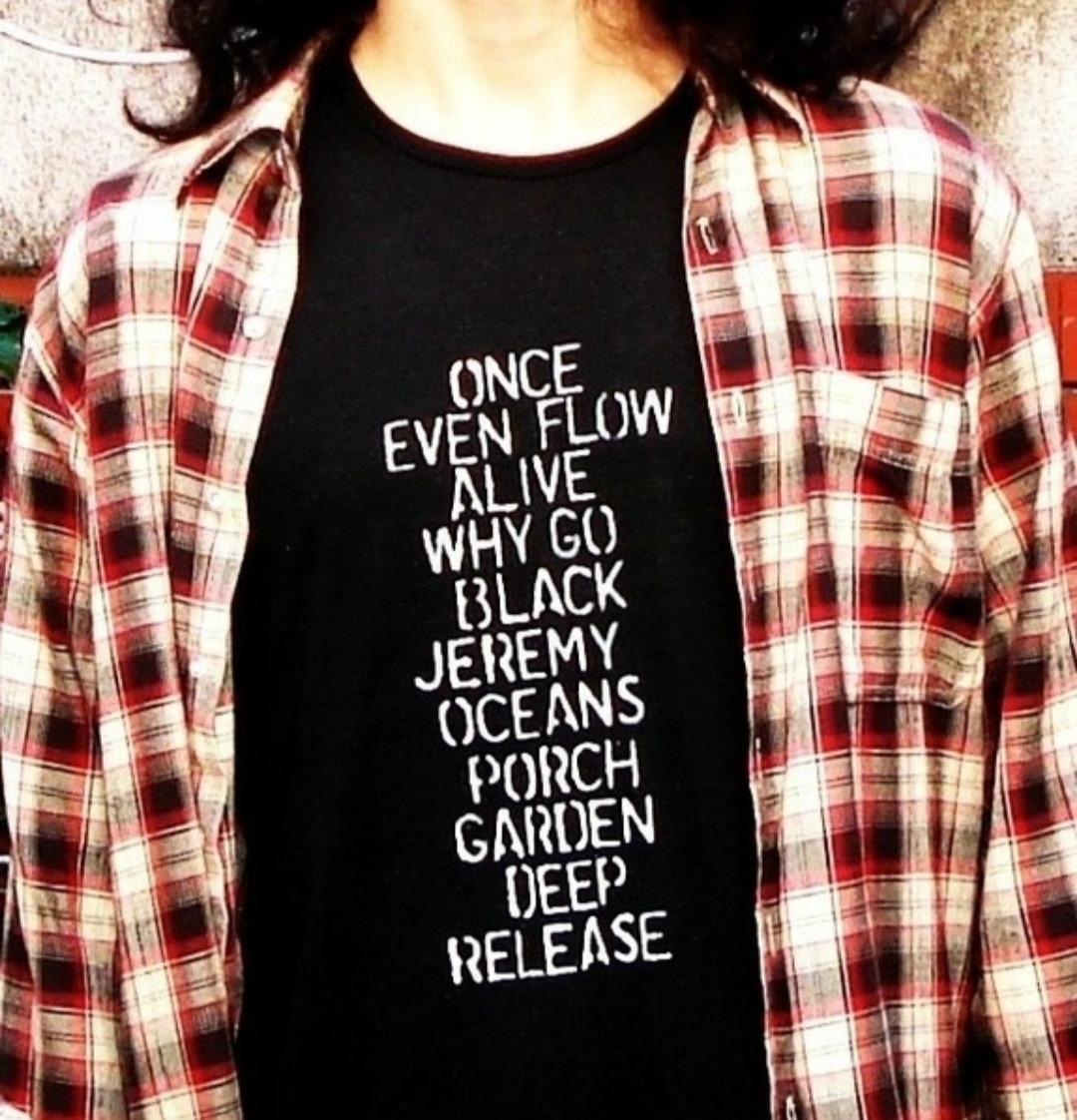 2018 New Casual Short Sleeved Black T shirts Pearl Jam Ten Tops Unisex Men Women Grunge Rock Band Tees Plus Size Tumblr Tees