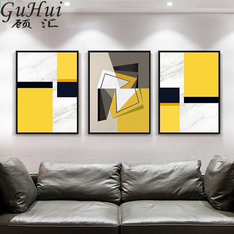 Lienzo geométrico abstracto amarillo y negro, pintura moderna para sala de estar, decoración de restaurante, mural de entrada, pared de salón, póster