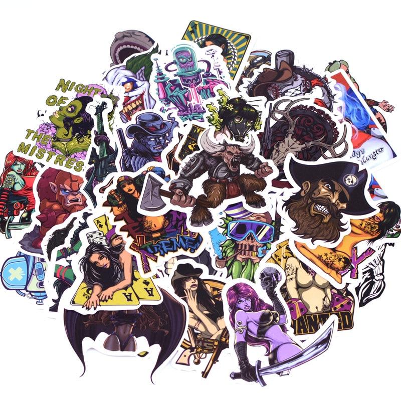 50pcs/pack Horror Beauty Graffiti Stickers Kid Toy Funny Sticker for DIY Luggage Laptop Skateboard Moto Car Waterproof Sticker
