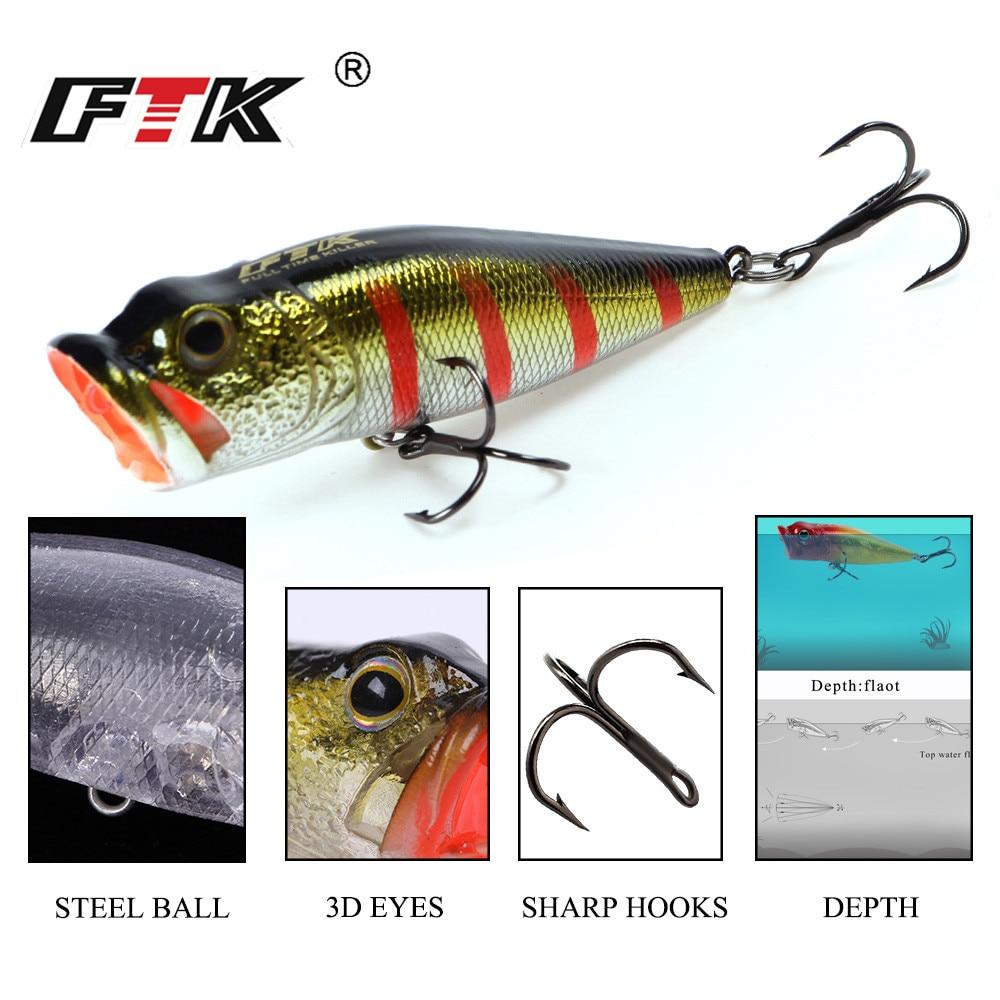FTK bass pesca señuelo realista Popper 65mm 6g de acero de alto carbono cigüeñal con gancho de agudos aparejos de wobblers flotante Topwater